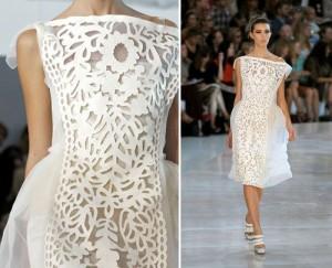 Váy cưới Louis Vuitton kết hợp các đường cắt cứng cáp trên nền vải voan mỏng manh.